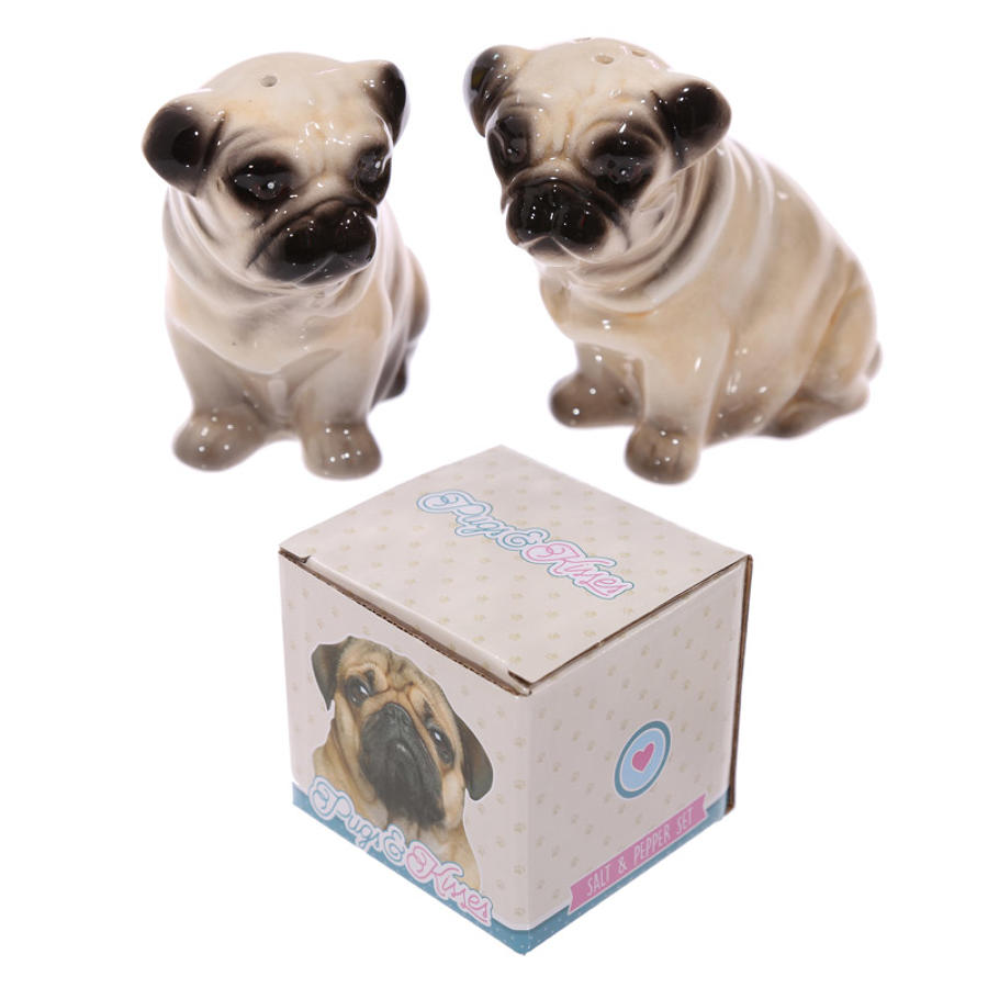 Ceramic Pug Salt and Pepper Set